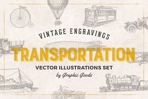 Transportation Engravings Set