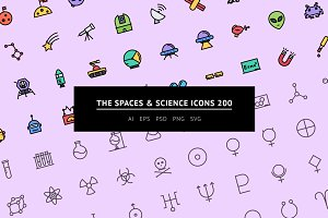The Spaces & Science Icons 200