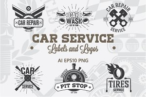 9 Car service Labels and Logos