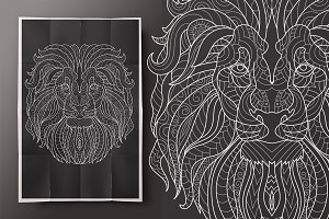 Lion. Coloring for adult!