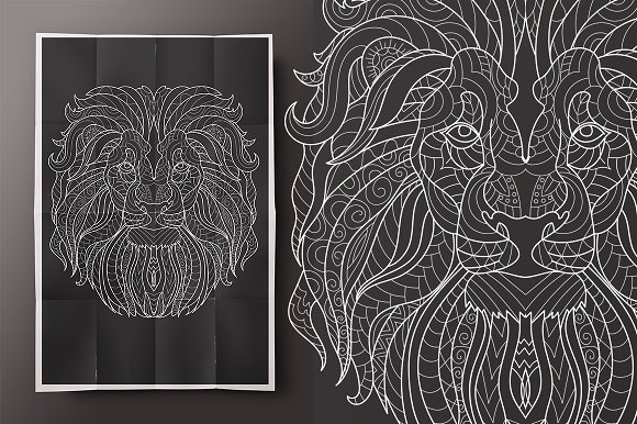 Lion. Coloring for adult! - Illustrations