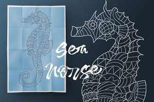 Seahorse. Coloring for adult