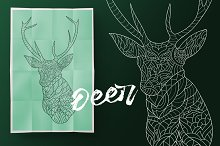 Deer. Coloring book for adult