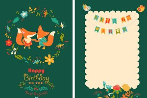 Birthday card with foxes in wreath