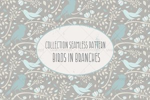 "Seamless pattern ""Birds in branches"""
