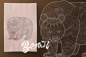 Bear. Coloring book for adult