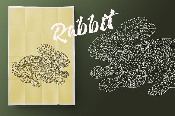 Rabbit. Coloring for adult - Illustrations
