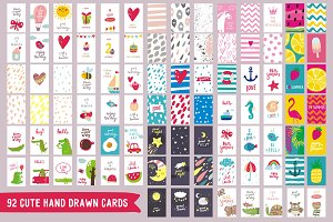 92 Cute handdrawn cards
