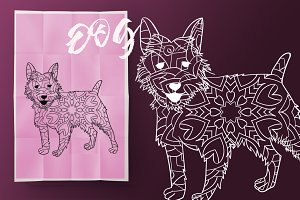 Dog. Coloring book for adult
