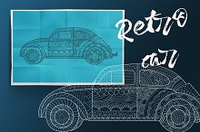 Retro car.Coloring book for adult