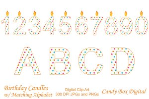 Birthday Candle Clip Art w/Alphabet