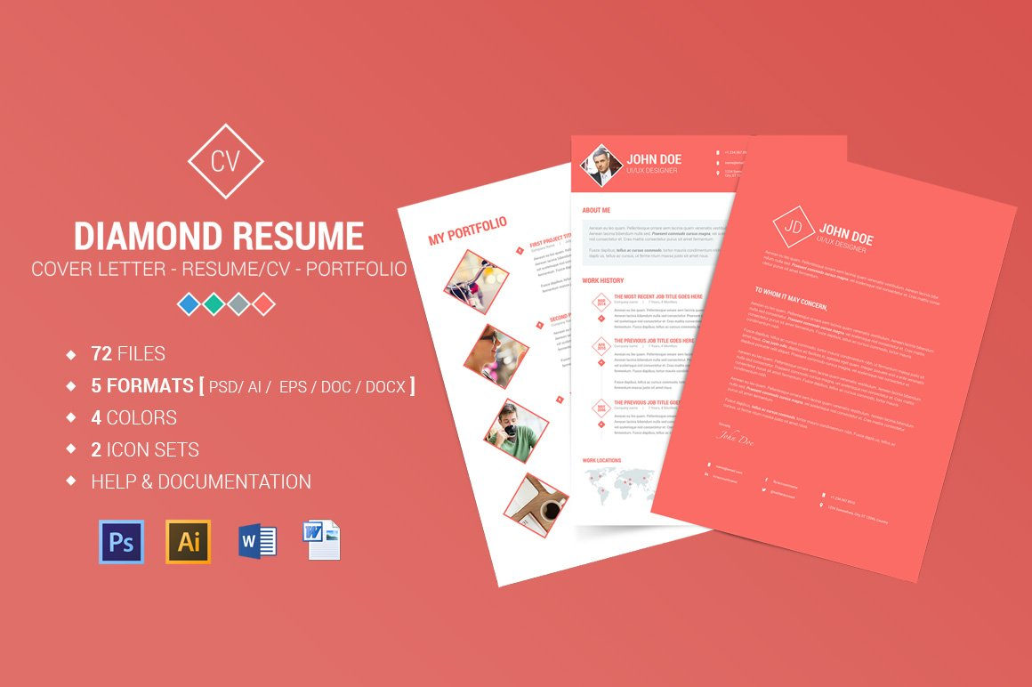 diamond resume cv 3 piece resume resume templates creative market