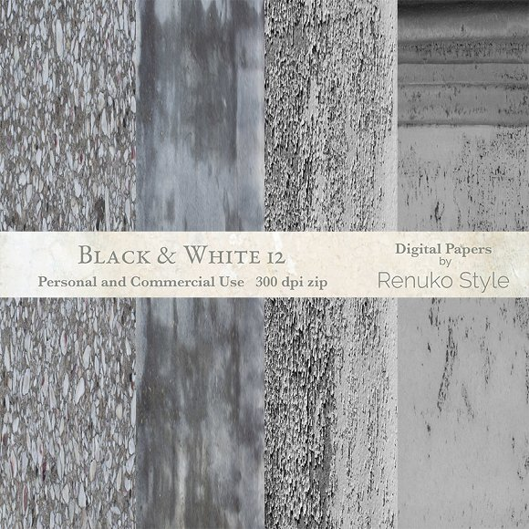 Black and White 12 digital textures