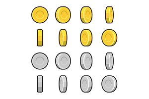 Gold and Silver coins animation set