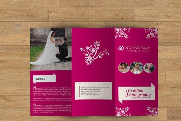 trifold brochure for wedding v07 brochure templates creative market. Black Bedroom Furniture Sets. Home Design Ideas