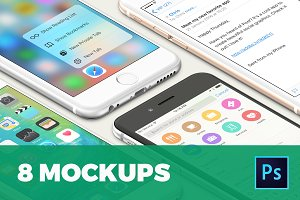 8 isolated iPhone 6s mockups