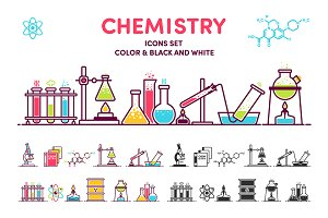 "Icons & illustration ""Chemistry"""