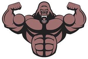 Strong ferocious gorilla