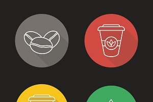 Coffee and tea icons. Vector