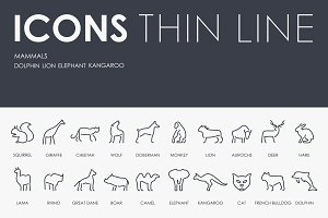 Mammals thinline icons
