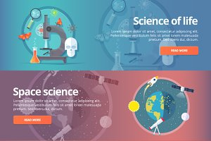 Education and Science banner set
