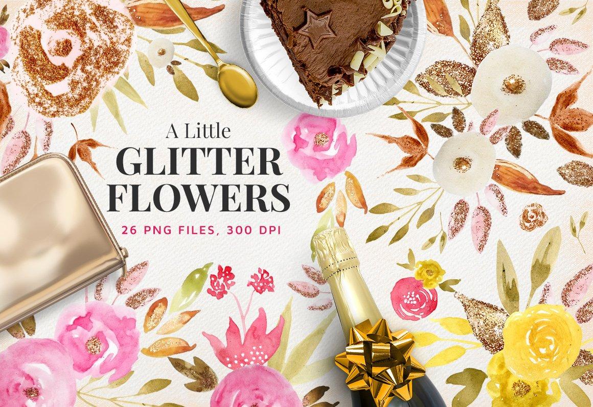 A Little Glitter Flowers Illustrations Creative Market