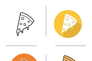 Pizza piece icons. Vector