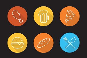 Food and drinks icons. Vector