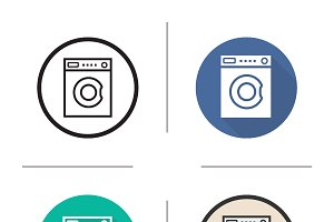 Washing machine icons. Vector