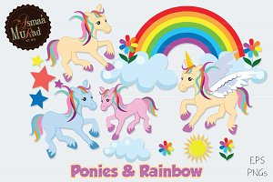 Unicorn horses and Rainbow fantasy