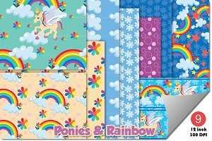 Rainbow ponies background patterns