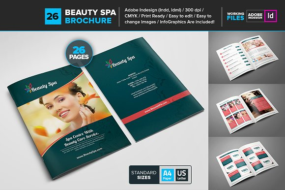 Beauty Spa Booklet Template Brochure Templates Creative Market - Brochure booklet templates