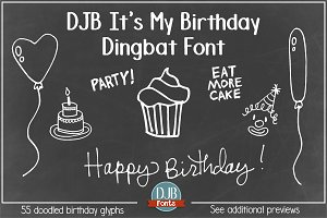 DJB It's My Birthday Dingbat Font