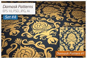 4 Vector Seamless Damask Patterns