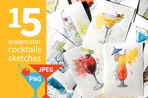 15 watercolor cocktails sketches