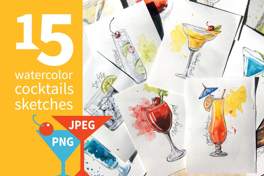 15 watercolor cocktails sketches in Illustrations - product preview 8
