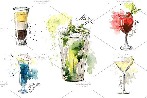 15 watercolor cocktails sketches in Illustrations - product preview 1