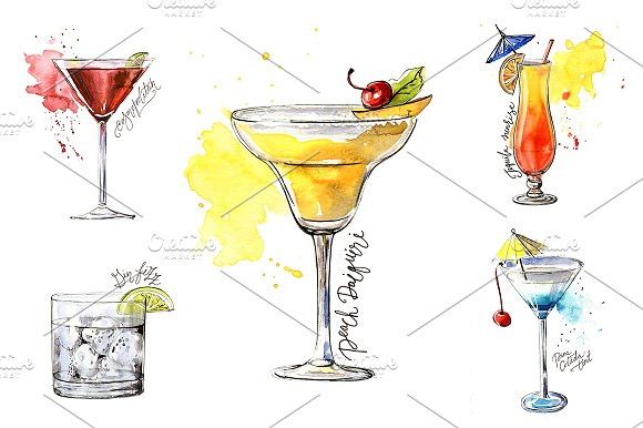 15 watercolor cocktails sketches in Illustrations - product preview 2