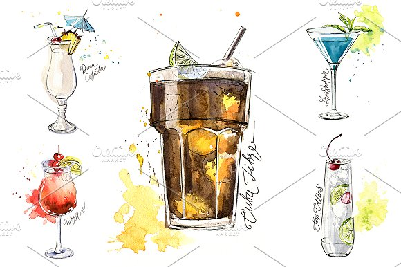15 watercolor cocktails sketches in Illustrations - product preview 3