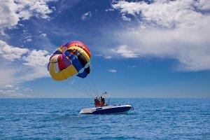 preparing for takeoff parasailing