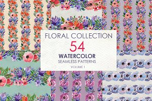 54 floral watercolor patterns