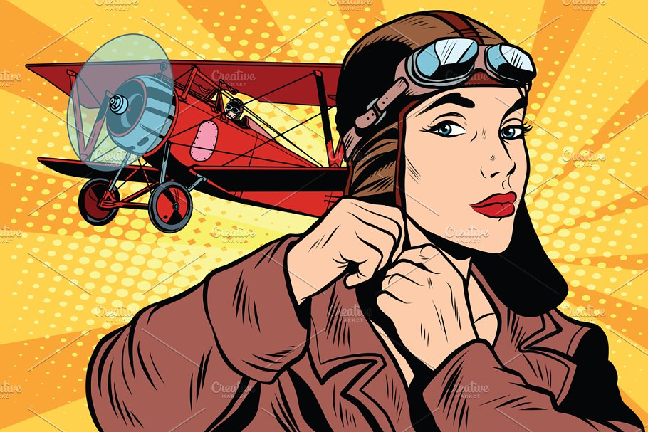 Girl retro military pilot in Illustrations - product preview 8