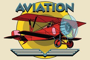 two-winged plane aviation poster