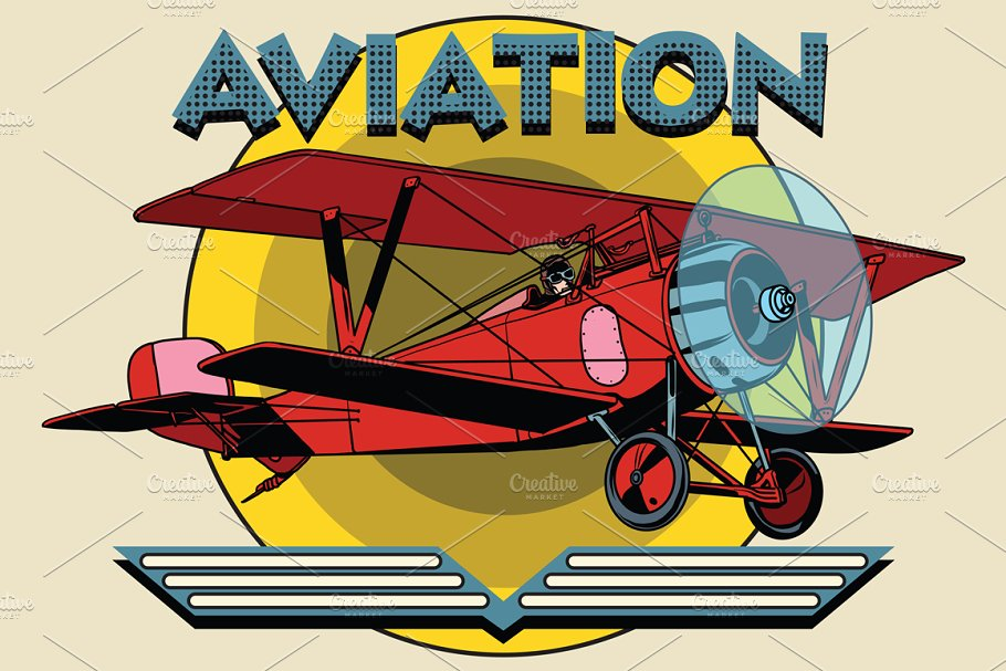 two-winged plane aviation poster in Illustrations - product preview 8