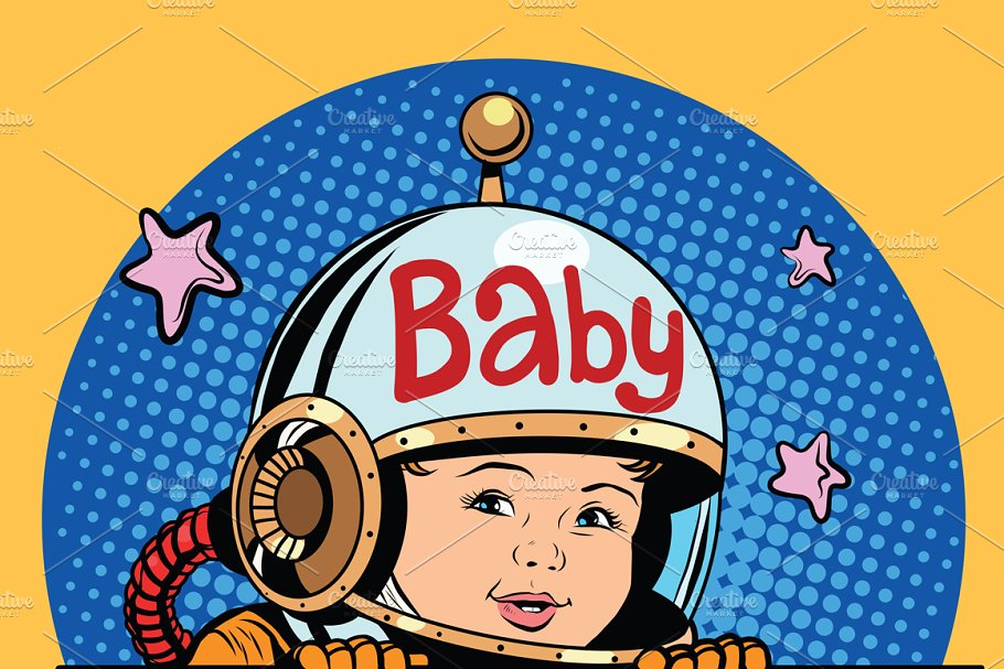 baby on Board astronaut in Illustrations - product preview 8