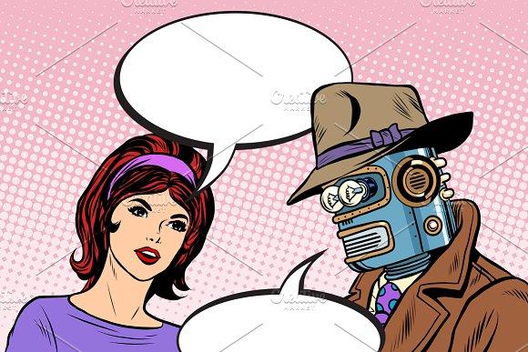 Couple man robot and beautiful woman