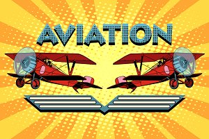 Retro two-winged plane aviation