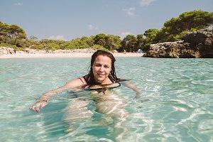 Woman bathing in Menorca