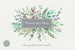 Watercolor flora. Styled collection.