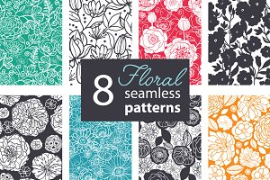 8 Floral Seamless Patterns Set